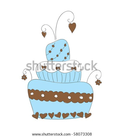 Hand drawn vector illustration of cute cake - stock vector