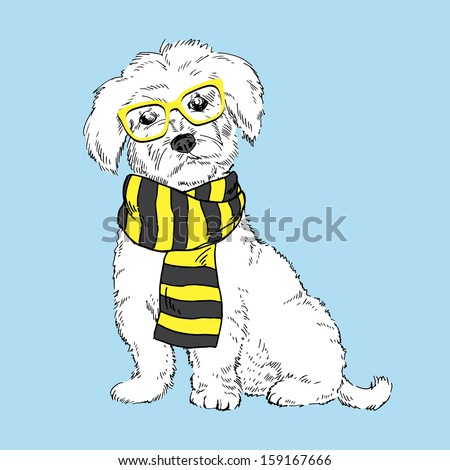 Hand Drawn Vector Illustration of Cute Doggy in Striped Scarf Isolated on Blue Background - stock vector
