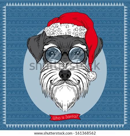 Hand Drawn Vector Illustration of Dog Santa , Christmas Greeting Card Design - stock vector