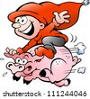 Hand-drawn Vector illustration of elf riding on a pig - stock vector