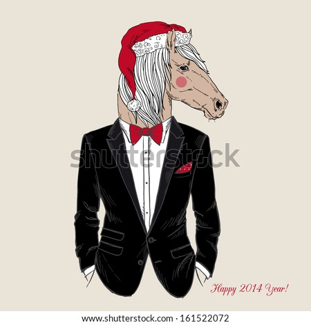 Hand Drawn Vector Illustration of Horse in Santa Hat and Tuxedo, Party Look, Happy New Year - stock vector