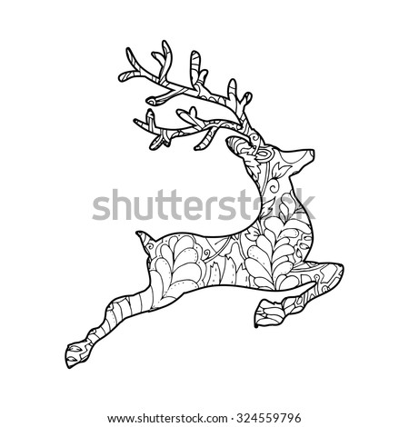 Hand Drawn Vector Illustration Of Jumping Deer Silhouette With Decorative Ornament Merry Christmas Card