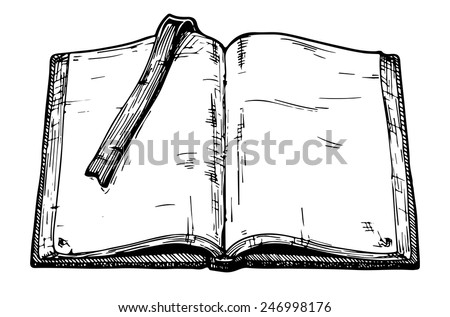 Hand drawn vector illustration of opened old book.  - stock vector