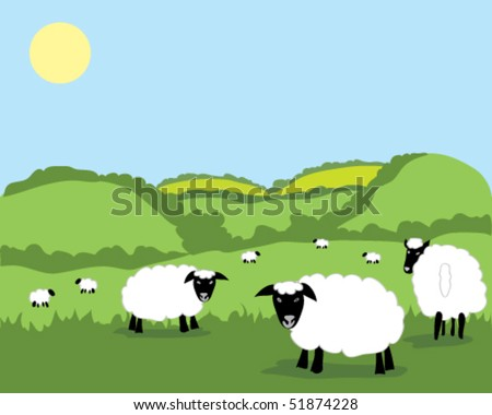 hand drawn vector illustration of sheep amongst green hills with blue sky background - stock vector