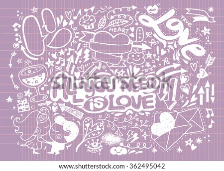 Hand Drawn Vector Illustration of Valentines doodle