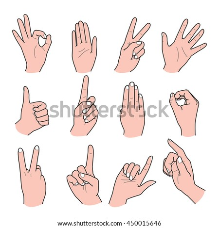 Hand drawn vector illustration on a white background. Vector set of hand collection.
