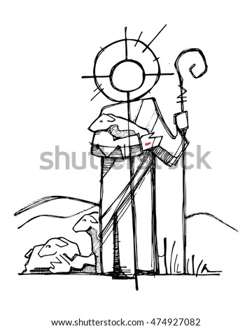 Hand Drawn Vector Illustration Or Drawing Of Jesus Christ As A Good Shepherd In Minimalist