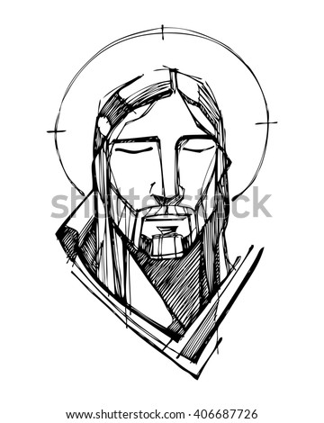 Hand drawn vector illustration or drawing of Jesus Christ Face - stock vector