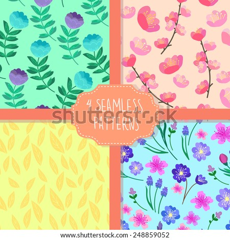 Hand-drawn vector illustration. Patterns set. Cherry blossom seamless flowers pattern, Abstract foliage seamless pattern, Elegant seamless pattern with blue flowers, Seamless pattern with flowers - stock vector