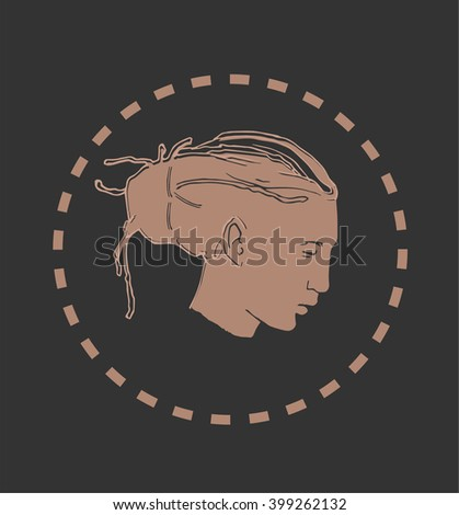 """Hand drawn vector illustration """"Portrait of a young peaceful man with dreadlocks"""" - stock vector"""
