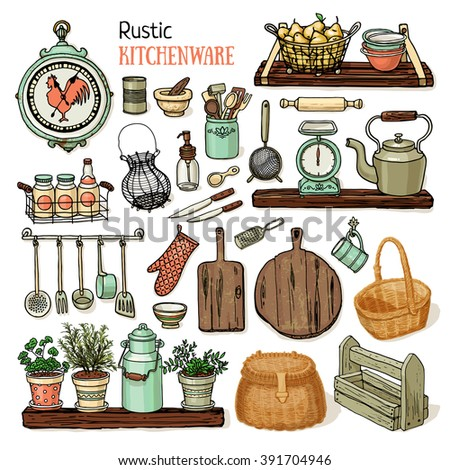 Hand drawn vector illustration rustic kitchen set. Pastel colors sketch of dishes isolated on white background - stock vector