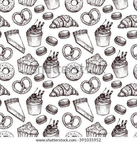 Hand drawn vector illustration - Seamless pattern with sweet and dessert. Yummy background (croissant, cupcakes, pretzels, cake, cheesecake, macaroon). - stock vector