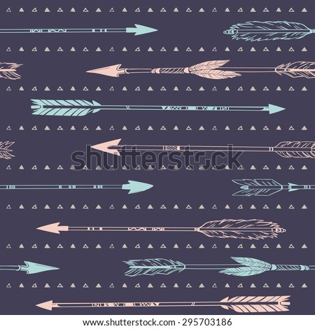 Hand drawn vector illustration. Seamless pattern with tribal arrows. Perfect for wallpapers, greeting cards, blogs, web page background and more.  - stock vector