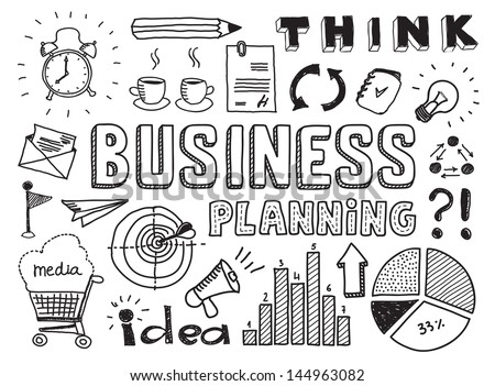Hand drawn vector illustration set of business planning doodles elements. Isolated on white background - stock vector