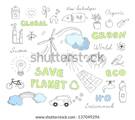 Hand drawn vector illustration set of ecology and alternative energy doodles elements. Isolated on white background