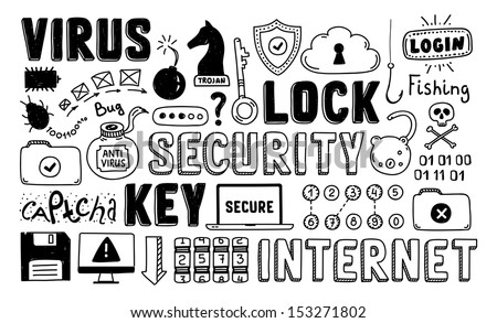Hand drawn vector illustration set of internet and network security doodle elements.  Isolated on white background. - stock vector