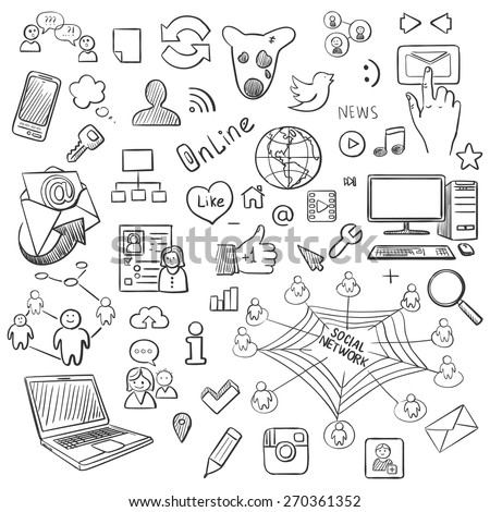 Hand drawn vector illustration set of social media and symbol doodles elements. Isolated on white background - stock vector
