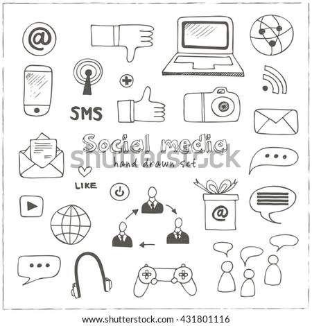 Hand drawn vector illustration set of social media sign and symbol doodles elements. Isolated vector illustration