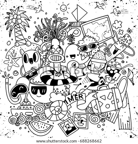 Hand drawn vector illustration set of summer elements.Hand drawing Doodle,cute monster