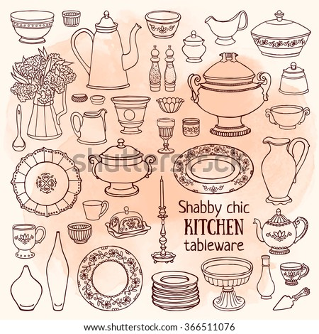 Hand drawn vector illustration shabby-chic kitchen set. Watercolor sketch of dishes vintage style - stock vector
