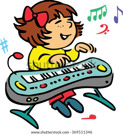 Hand drawn. Vector illustration.The girl who plays the piano. - stock vector