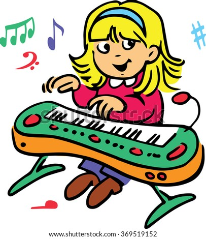 Hand drawn. Vector illustration.The girl who plays the piano - stock vector