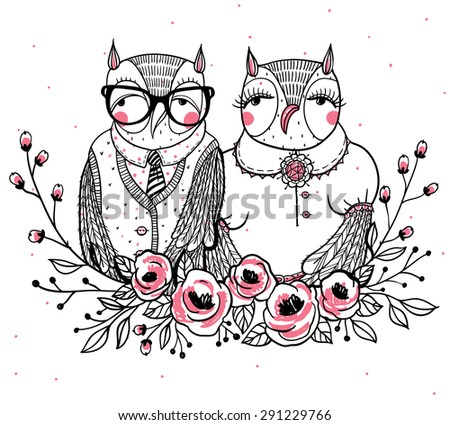 hand drawn vector illustration with a cute owl family - stock vector