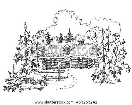 vector frame in a corner of the landscape young birch overgrown with