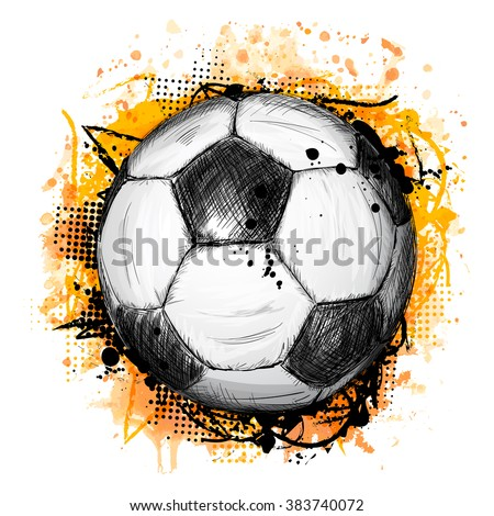 Hand drawn vector illustration with soccer or football ball, grunge composition and orange watercolor background, in doodle style - stock vector