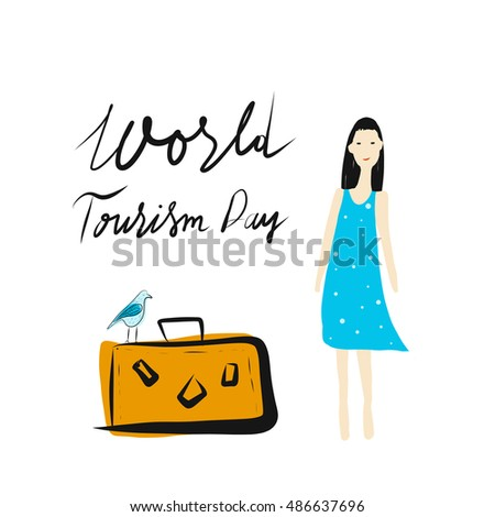 Hand drawn vector Illustration World Tourism Day.