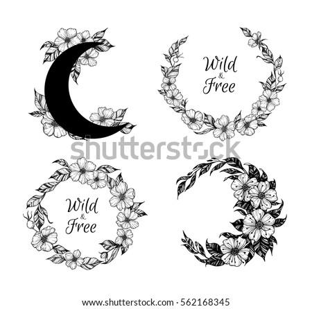 Hand Drawn Vector Illustration Wreaths Moon Stock Photo (Photo ...