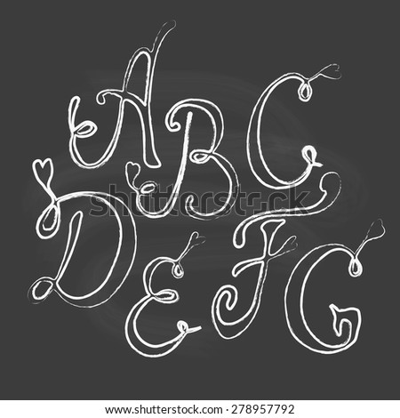 Hand drawn vector letters on chalk board background  - stock vector