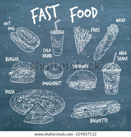 Hand drawn vector line art illustration of ten general fast food products. - stock vector