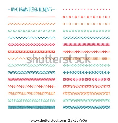 Hand drawn vector line border set and scribble design element. Geometric vintage fashion pattern. Illustration. Trendy doodle style brushes.  - stock vector