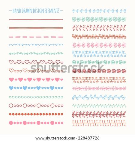 Hand drawn vector line border set and scribble design element. Illustration of doodles - stock vector