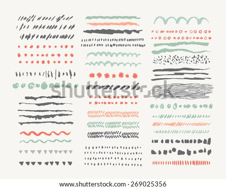Hand drawn vector line borders and dividers collection. Design elements. Isolated - stock vector