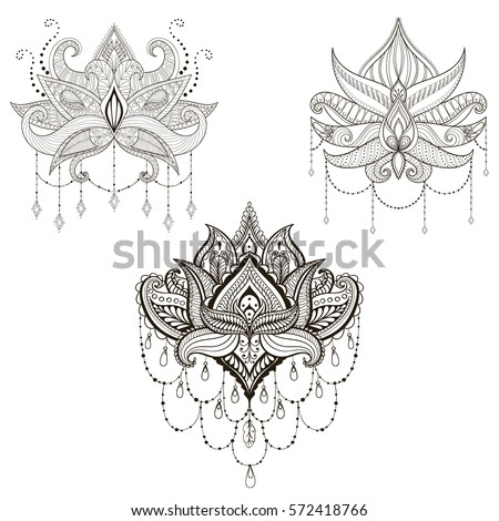Hand drawn vector Lotus flower set, vector illustration, ornamental ethnic paisley.  Henna tattoo art, boho and magic symbol in zentangle style for adult coloring page