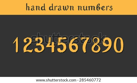 Hand drawn vector numbers. Illustration painted with a brush - stock vector