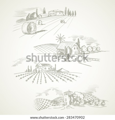Hand drawn vector of farms landscape