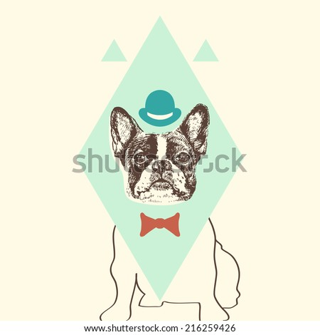 Hand drawn vector of French Bulldog in tie bow and hat. - stock vector