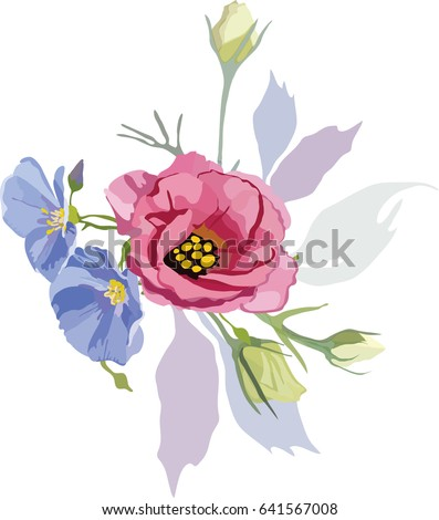 Hand drawn vector purple blue flowers stock vector 641567008 hand drawn vector of purple and blue flowers on the transparent background mightylinksfo