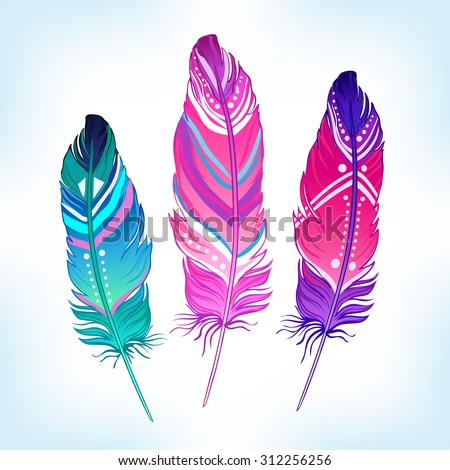 Hand drawn vector painted bird feathers isolated on white background. Colorful set for your design. Trendy  boho style patterned elements, sketch, tribal colorful concept/ - stock vector
