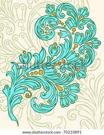 Hand Drawn Vector Paisley Design - stock vector