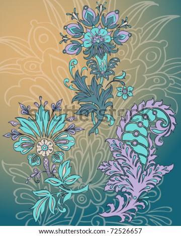 Hand Drawn Vector Paisley Florals - stock vector