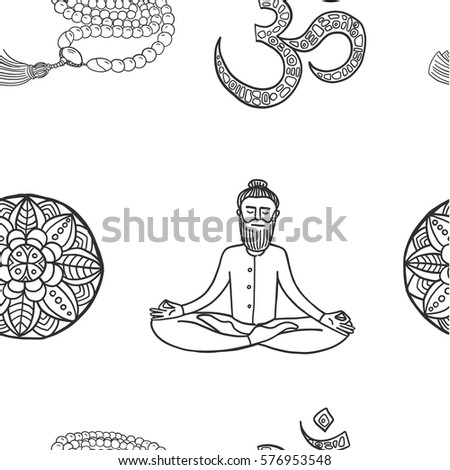 Hand Drawn Vector Pattern With Yoga Signs Beardy Man Meditating In Lotus Pose Beads