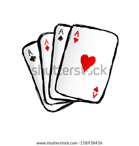 Hand drawn vector playing cards. Four Aces.