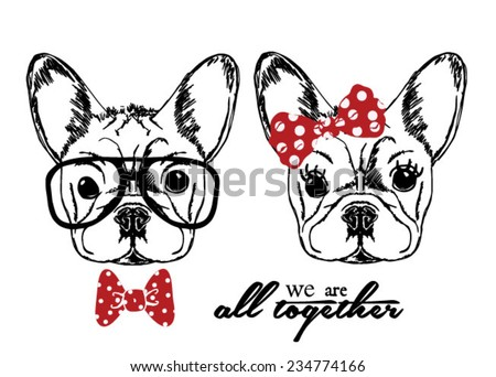 Hand Drawn Vector Portrait of French Bulldog in Pink Tie Bow and Monocle  - stock vector