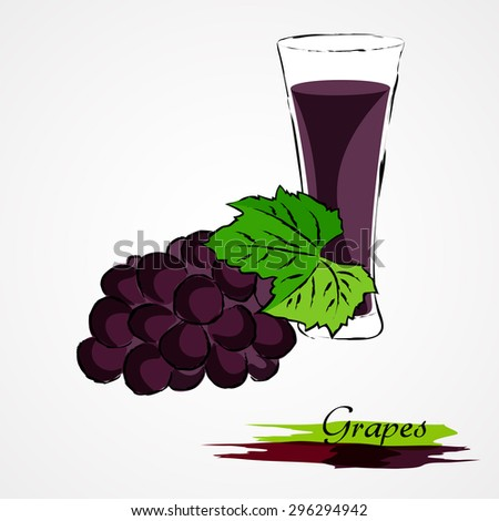 Hand drawn vector purple, ripe grape fruit and juice in glass on light background - stock vector