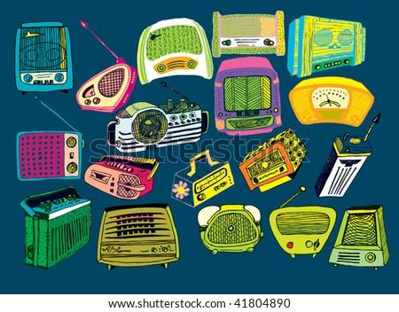 hand drawn vector radios 2 (on dark background) - stock vector