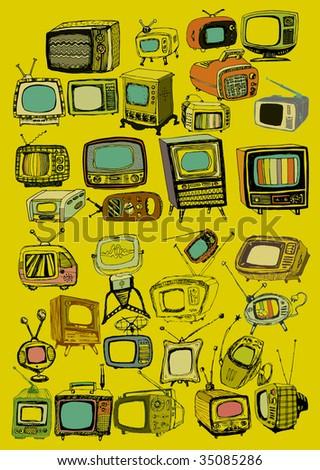Hand drawn vector retro TVs - stock vector